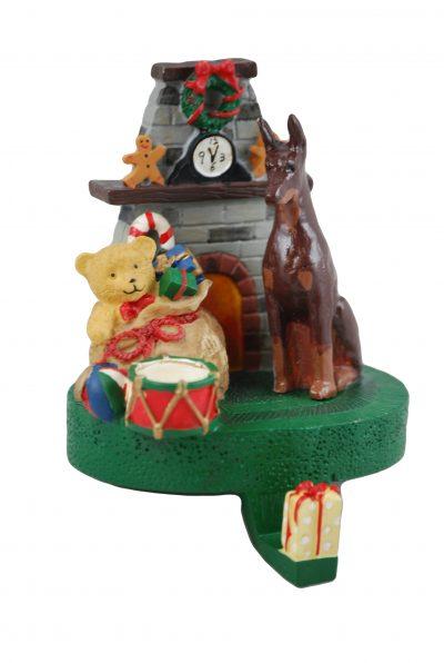 Doberman Pinscher Dog Christmas Mantle Stocking Hanger Holder Figurine Red
