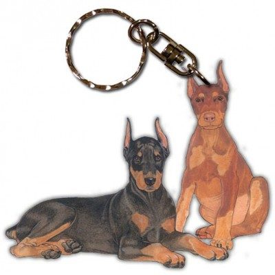 Doberman Pinscher Wooden Dog Breed Keychain Key Ring 1