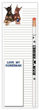 Doberman Pinscher Dog Notepads To Do List Pad Pencil Gift Set