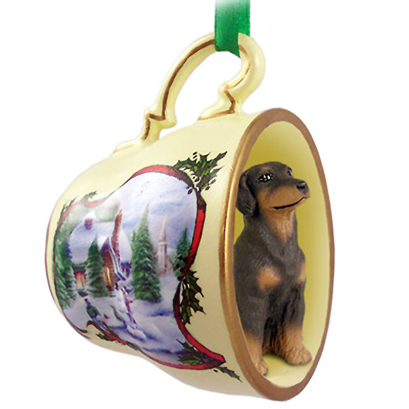 Doberman Pinscher Dog Christmas Holiday Teacup Ornament Figurine Red Uncrop