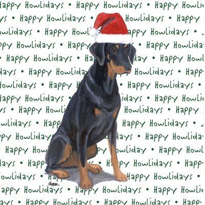 Doberman Pinscher Dog Coasters Christmas Themed Black