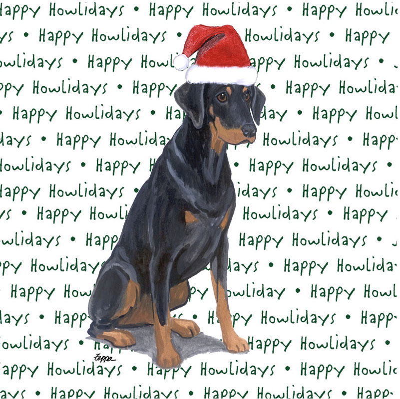 Doberman Pinscher Dog Coasters Christmas Themed Black