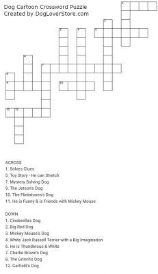 Dog Cartoon Characters Crossword Puzzle
