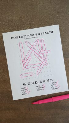 Dog Lover Word Search Completed