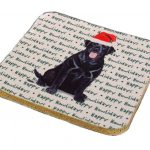 Pomeranian Dog Coasters Christmas Themed Red 2