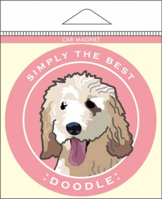 "Labradoodle Car Magnet 4x4"" White/Brown"