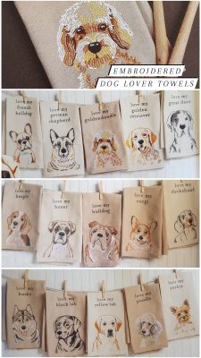 Embroidered Dog Kitchen Towels