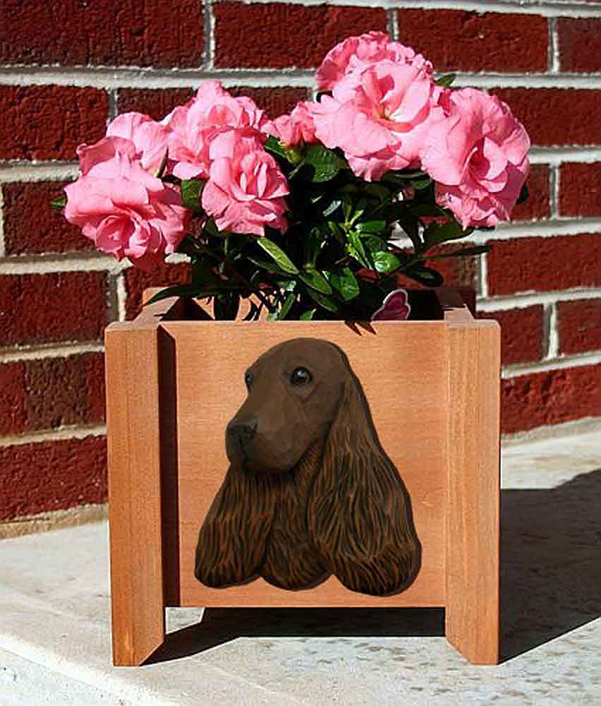 English Cocker Spaniel Planter Flower Pot Liver