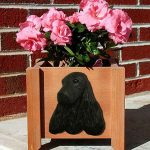 English Cocker Spaniel Planter Flower Pot Black 1