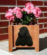 English Cocker Spaniel Planter Flower Pot Black
