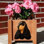 English Cocker Spaniel Planter Flower Pot Black Tan 1
