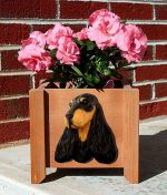 English Cocker Spaniel Planter Flower Pot Black Tan