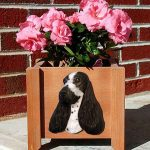 English Cocker Spaniel Planter Flower Pot Blue Roan 1