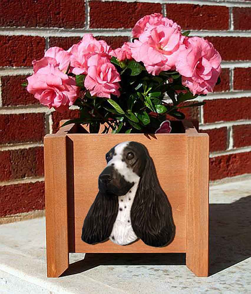 English Cocker Spaniel Planter Flower Pot Blue Roan