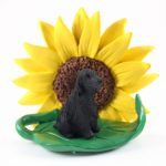 English Cocker Spaniel Black Figurine Sitting on a Green Leaf in Front of a Yellow Sunflower