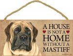 English Mastiff Wood Dog Sign Wall Plaque 5 x 10 + Bonus Coaster