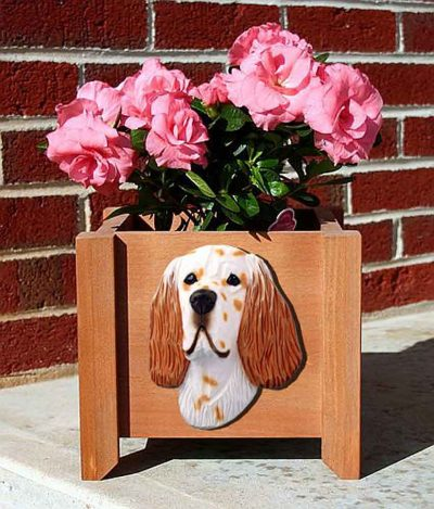 English Setter Planter Flower Pot Orange Belton 1