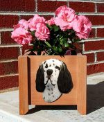 English Setter Planter Flower Pot Blue Belton