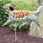 English Setter Garden Stake Sign Orange