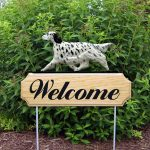 English Setter Outdoor Garden Welcome Sign Blue in Color