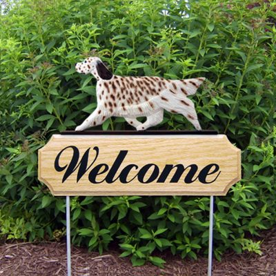 English Setter Outdoor Welcome Garden Sign Liver in Color
