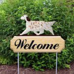 English Setter Outdoor Welcome Garden Sign Orange in Color