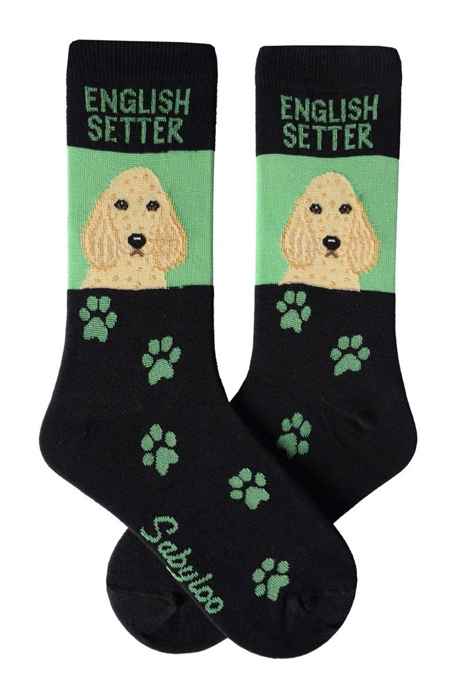 English Setter Socks Green