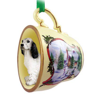 English Setter Dog Christmas Holiday Teacup Ornament Figurine Blue Belton