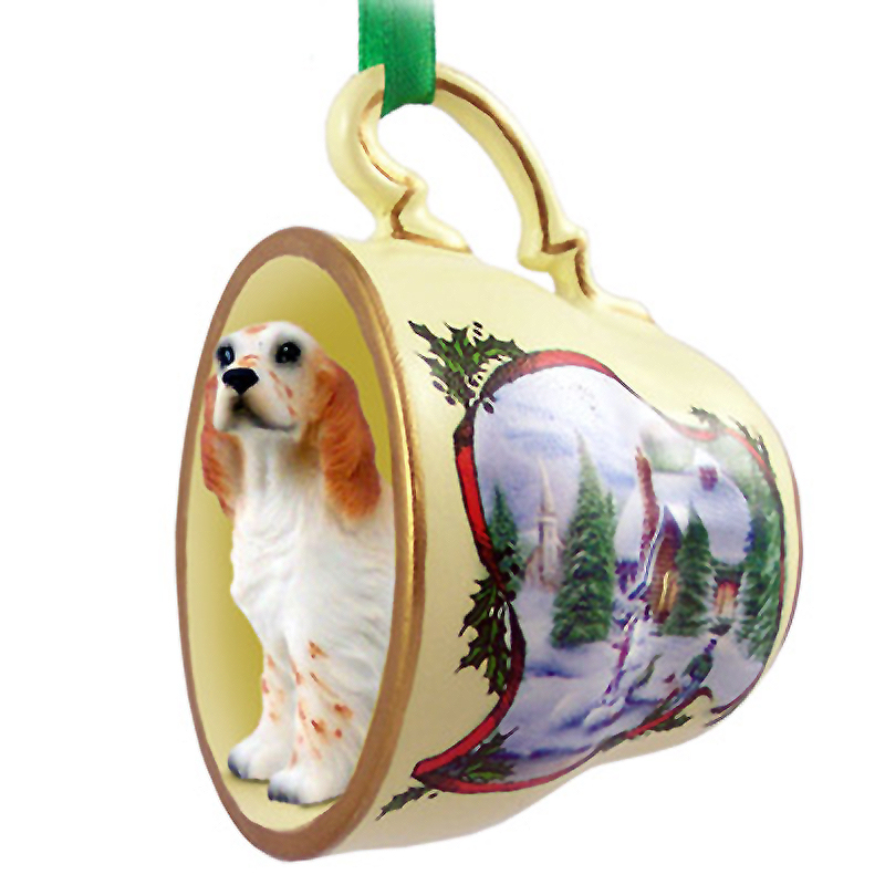 English Setter Dog Christmas Holiday Teacup Ornament Figurine Orange Belton