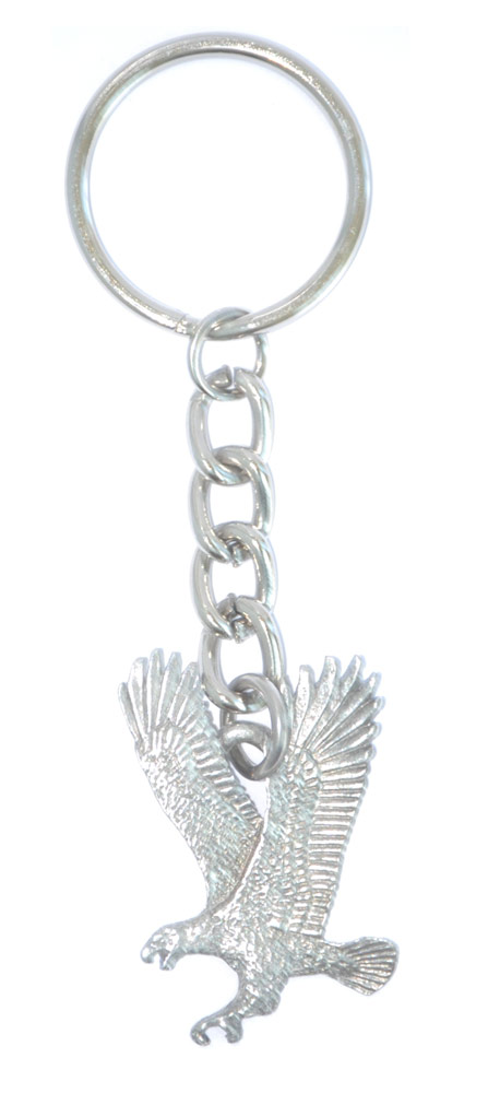 Falcon Keychain Silver Pewter Key Chain Ring