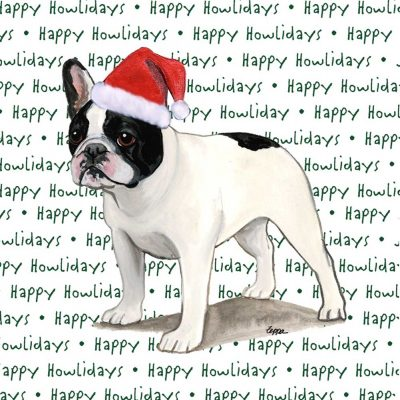 French Bulldog Dog Coasters Christmas Themed Black/White