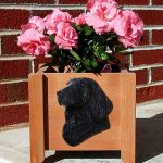 Flat Coated Retriever Planter Flower Pot Black 1