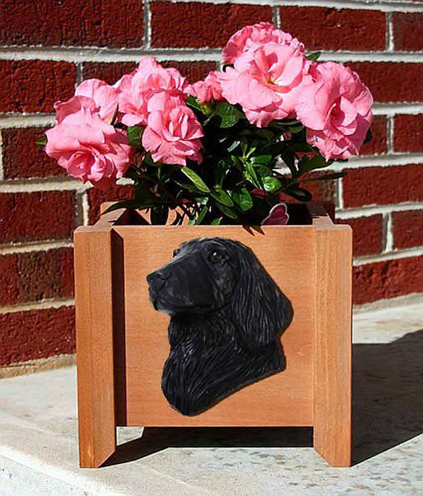 Flat Coated Retriever Planter Flower Pot Black