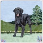 Flat Coated Retriever Yard Scene Coasters Set of 4