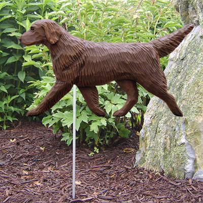Flat Coated Retriever Garden Stake Sign Brown/Liver