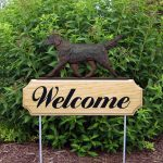 Flat Coated Retriever Outdoor Welcome Garden Sign Liver in Color