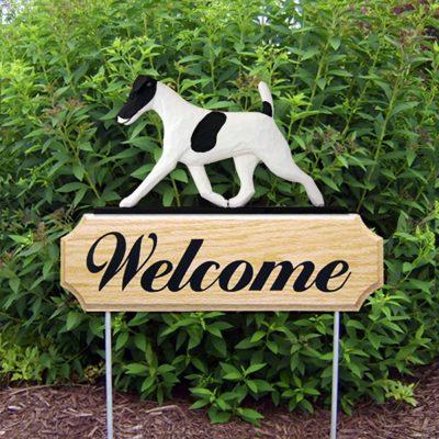 Fox Terrier Outdoor Welcome Garden Sign Black & White in Color
