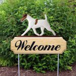 Fox Terrier Outdoor Welcome Garden Sign Brown & White in Color