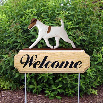 Fox Terrier Outdoor Welcome Garden Sign Brown & White in Color