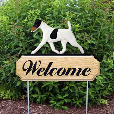 Fox Terrier Outdoor Welcome Garden Sign Tri-Color