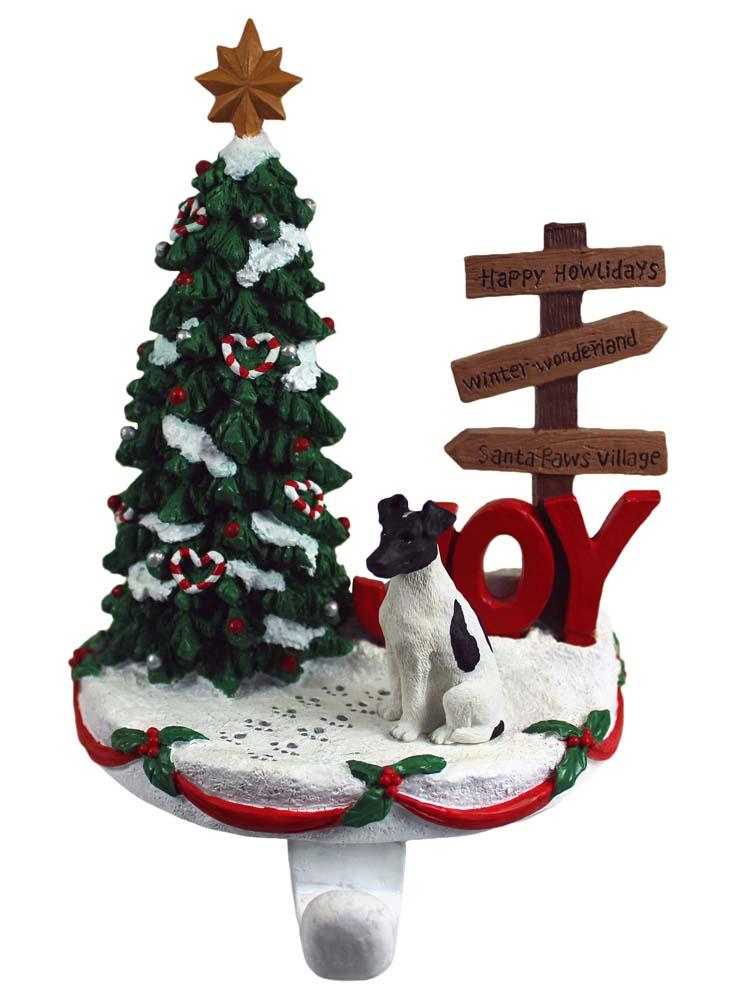Fox Terrier Stocking Holder Hanger Black