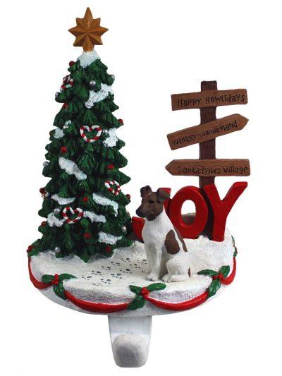 Fox Terrier Stocking Holder Hanger Brown