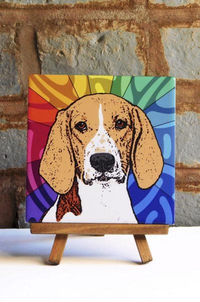 American Fox Hound Colorful Portrait Original Artwork on Ceramic Tile 4x4 Inches