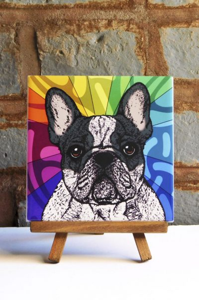 French Bulldog Black/White Colorful Portrait Original Artwork on Ceramic Tile 4x4 Inches