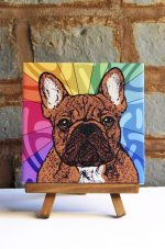 French Bulldog Brindle Colorful Portrait Original Artwork on Ceramic Tile 4x4 Inches