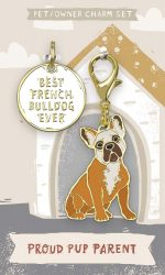 French Bulldog Collar Charm and Keychain Set