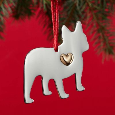 French Bulldog Holiday Ornament & Collar Charm Set 2