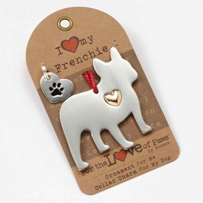 French Bulldog Holiday Ornament & Collar Charm Set