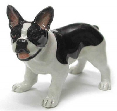 French Bulldog Hand Painted Porcelain Figurine Blk/White 1