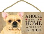 French Bulldog Wood Dog Sign Wall Plaque 5 x 10 + Bonus Coaster